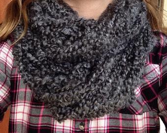 10 stitch dark gray handmade infinity scarf
