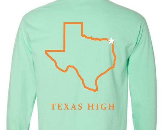 Texas High {State of Texas} Comfort Colors Long Sleeve Pocket Tee