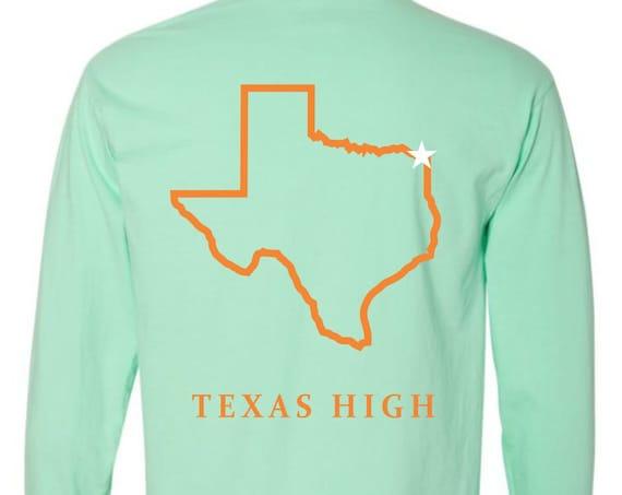 Texas High {State of Texas} Comfort Colors Long Sleeve Pocket Tee