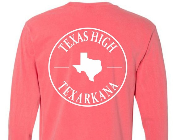 Texas High Texarkana Comfort Colors Long Sleeve Pocket Tee