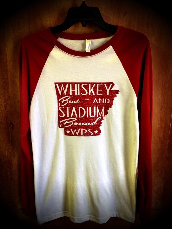 Arkansas Whiskey Bent and Stadium Bound Baseball Sleeve Tee