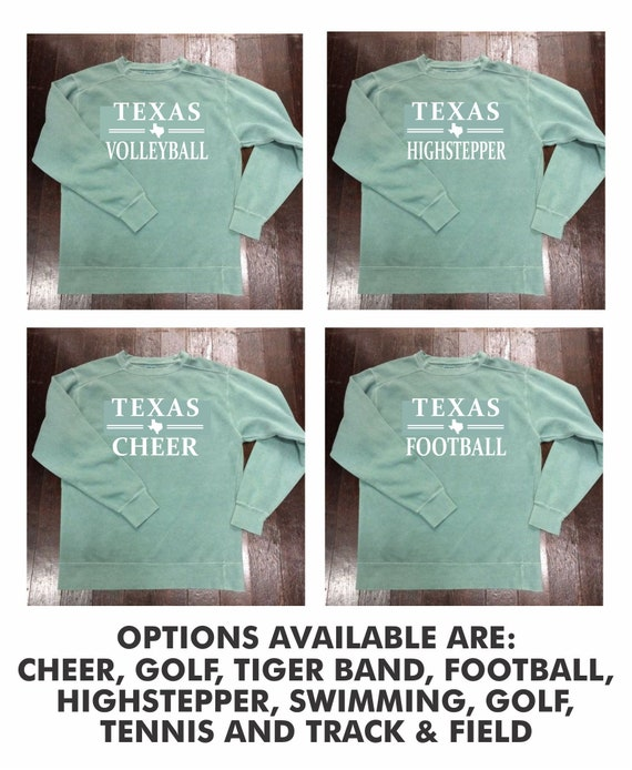 Texas {Sport or Activity} Comfort Colors Crewneck Sweatshirt NOW AVAILABLE IN soccer, basketball, softball, baseball!