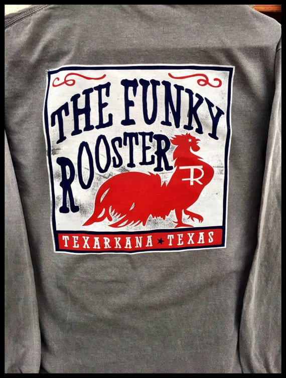 Funky Rooster Collection Box Label Comfort Colors Long Sleeve Pocket Tee -- Soft and Comfortable -- Perfect for leggings wear!