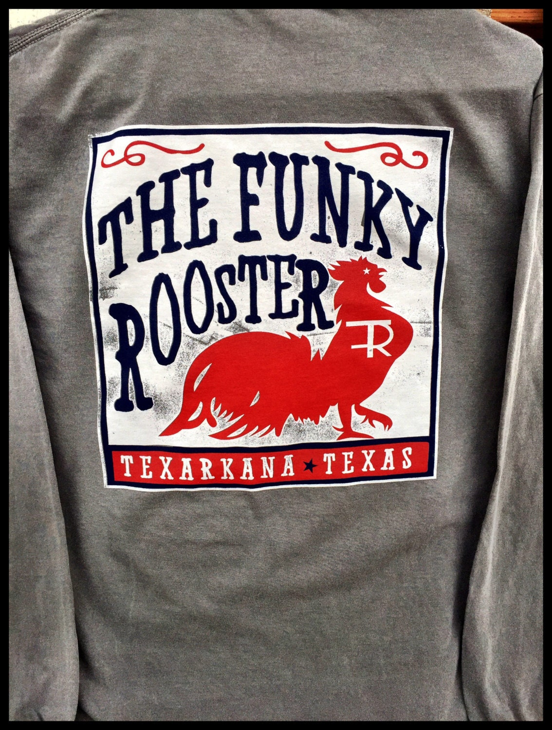 Funky Rooster Collection Box Label Comfort Colors Long Sleeve Etsy