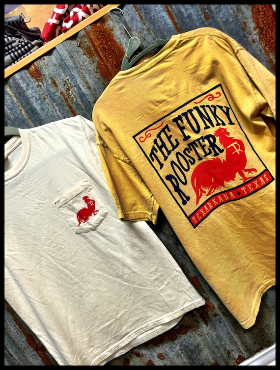 Funky Rooster Collection Box Label Pocket Comfort Colors Tee - Super Comfy, Super Stylish, Super Soft