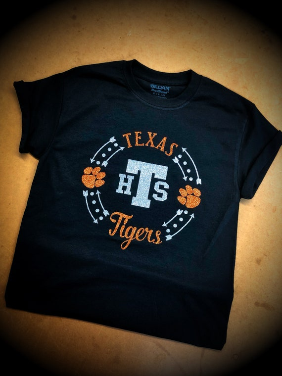 Toddler & Youth Texas Tigers Bling Tee with Monogram or THS Option