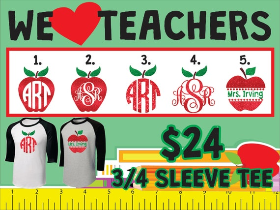 Teacher Monogram 3/4 Sleeve Tee
