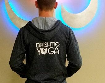 Full Zip Hooded Sweatshirt (Digital Gray) - Drishtiq Yoga  Stacked with  Ohio Flame