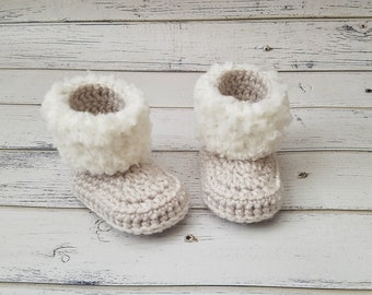 Crochet Baby Booties, Baby Fur Boots, Baby Boy Shoes, Baby Girl Shoes, Custom Baby Shoes, Baby Slippers, Baby Booties with Fur, MADE2ORDER
