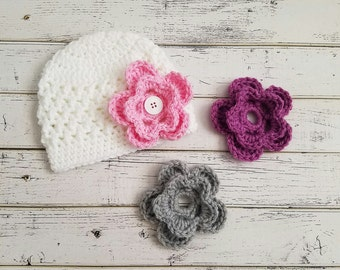 Beanie with Three Interchangeable Flowers 3fd07fb3d4d8