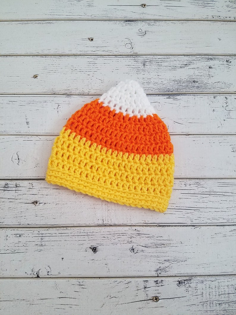 35da87f4690e3 Candy Corn Hat Beanie Newborn Baby Toddler Crochet Knit Halloween Fall  Photo Prop Costume Boy Girl 0-3 3-6 6-12 12-24 Months, MADE2ORDER