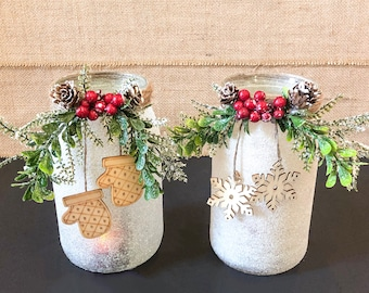 Frosted  Winter Mason Jars, Candleholders or Vases (Set of 2)/ Christmas Décor Frosted Mason Jars/ Unique Christmas Wedding Décor Gift.