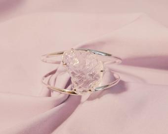 Clear Quartz Cuff Bracelet, Adjustable Crystal Cuff, Quartz Jewelry Silver Bracelet with Stone
