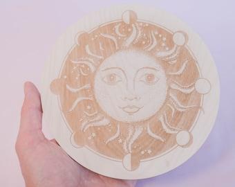 Sun Mandala, Crystal Energy Purification, Gemstone Cleansing, Wood Engraved Astros Mandala