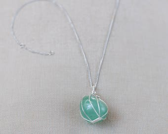 Crystal Necklace Pendant Green Aventurine Necklace Boho Chic Healing Crystal Jewelry Wire Wrapped Stone Necklace Sterling Silver Necklace