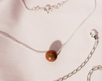 Rhodonite Layered Necklaces Set, Stone Sphere Necklace Silver, Silver Layered Link Chain Necklace Set, Casual Chic Jewelry