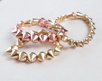 Gold Spike Bracelet, Rose Gold Bracelet, Golden Charm Beaded Bracelet, Funky Punk Bracelet, Gold Metal Dangle Bracelet Statement Jewelry