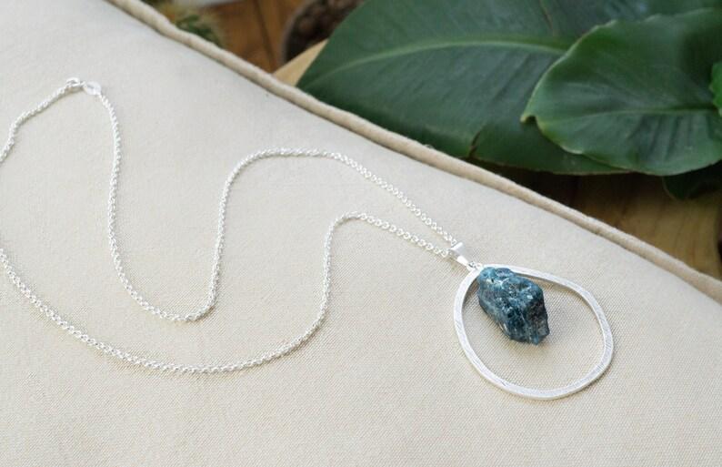 Blue Apatite Silver Necklace Bohemian Jewelry Healing Crystal Boho Chic Raw Gemstone Necklace Unisex