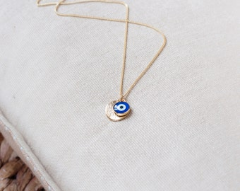Bridesmaids Necklace Greek Eye Necklace Gold Plated Chain, Delicate Evil Eye Jewelry Protection Necklace Gold Evil Eye Gold Necklace