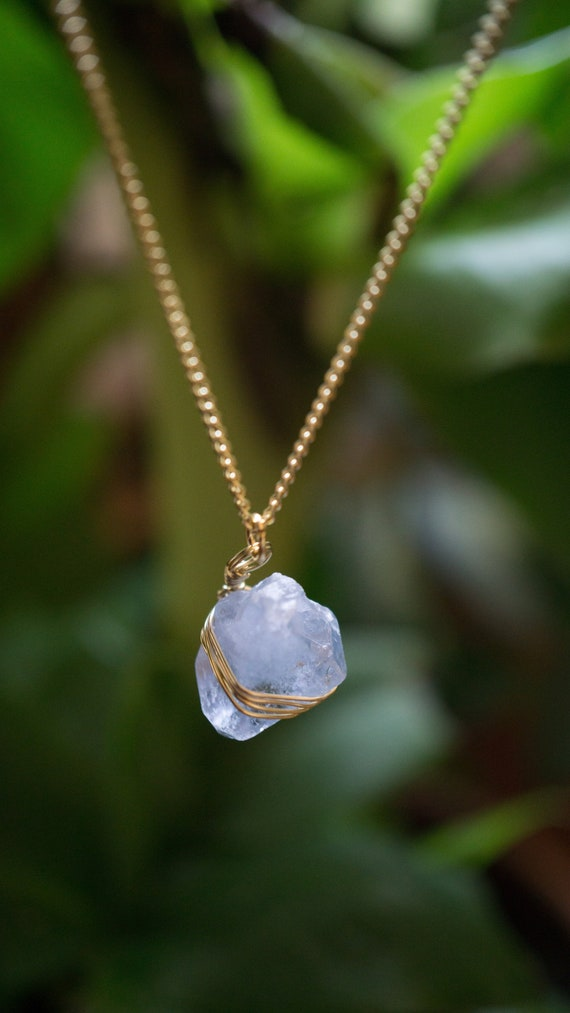 Small Celestite pendant Celestine necklace.