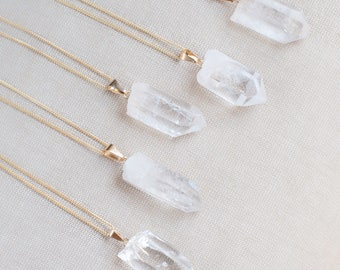 Raw Clear Quartz Necklace Gold Chain, Gemstone Healing Crystal Pendant, Quartz Jewelry Raw Crystal Necklace