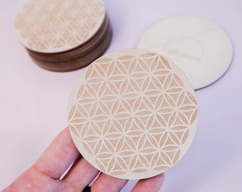 Flower of Life Mini Mandala, Crystal Energy Purification, Cleansing, Wood Engraved Mandala