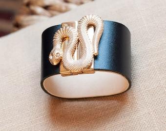 Snake Bracelet, Leather Cuff Bracelet, Serpent Wristband, Gift for Her, Leather Bracelet for Women, Black Cuff Bracelet, Wide Leather Cuff