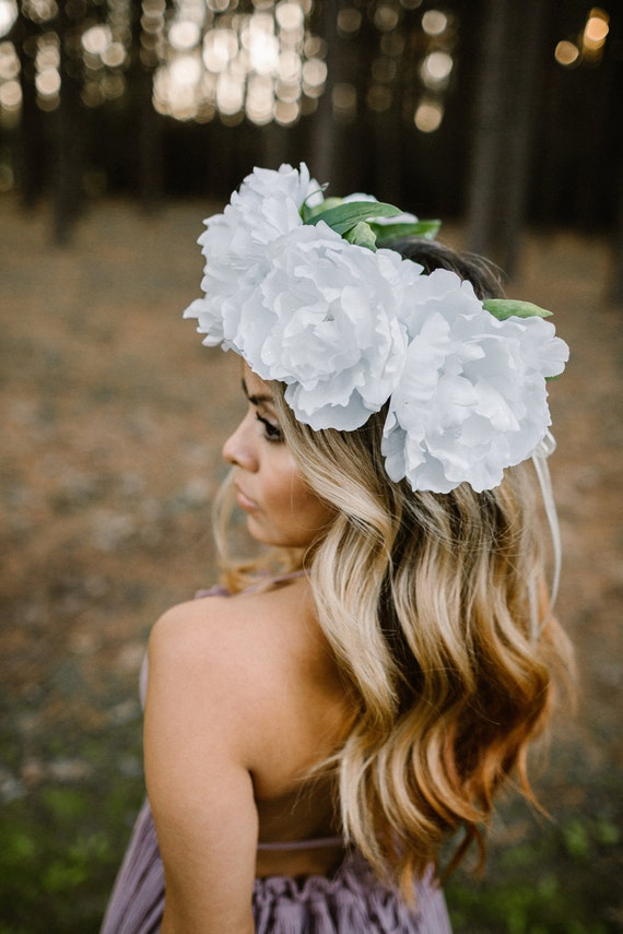Festival Crown Wedding Flower Crown Bridal Crown Peony By Any Other Name- In White Floral Crown