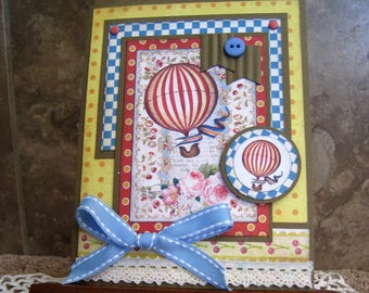 Hot Air Balloons Vintage Handmade Card - Birthday - Welcome Baby