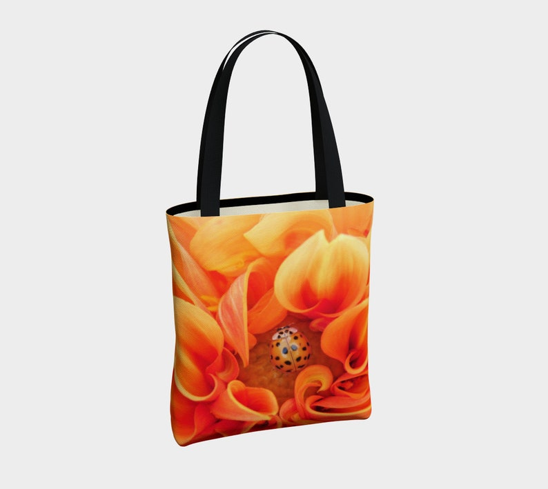 Yellow Flowers Golden Ladybug Dahlia Tote Bag,Totebag Lined Tote,Totebag for Women,Grocery Tote,Tote with Straps,Zipper Pocket,Floral Tote