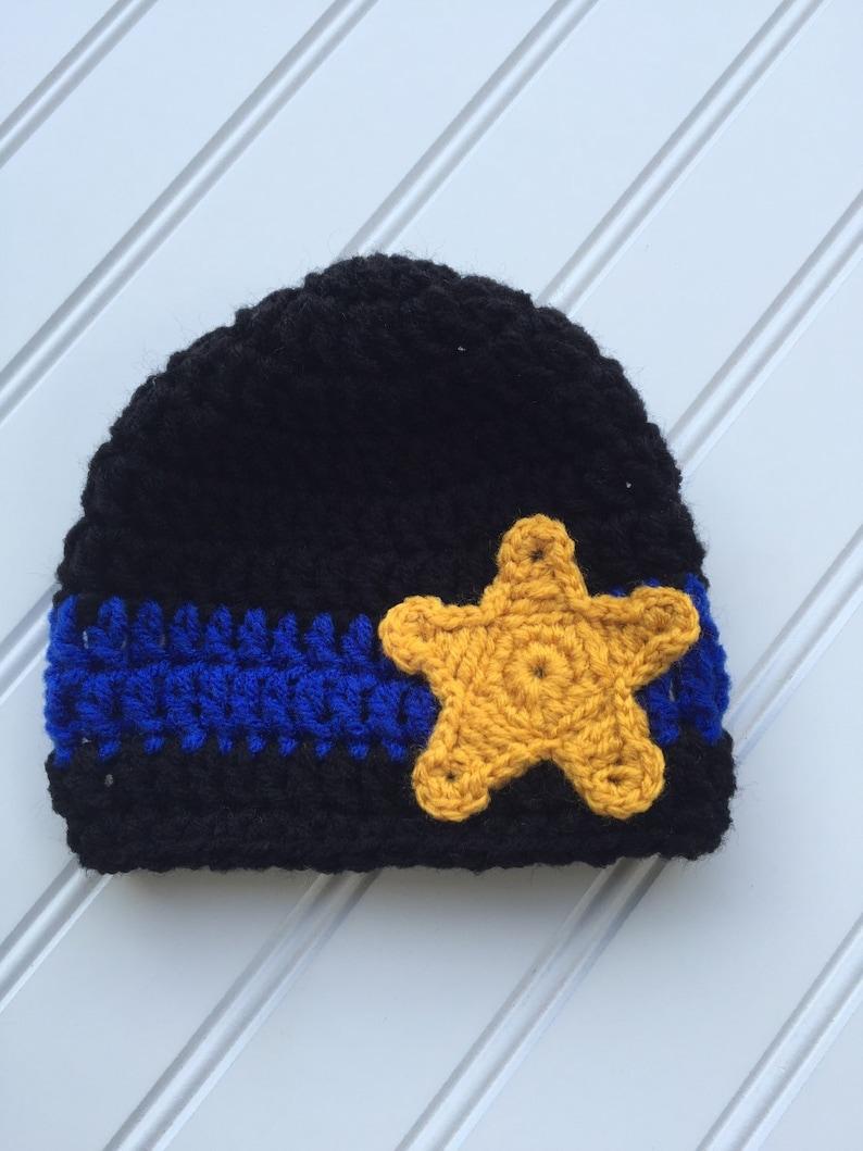 Toddler Hat LEO Lives Matter Newborn Photography Prop Baby Police Star Crochet Hat Thin Blue Line Police Officers Police Lives Matter