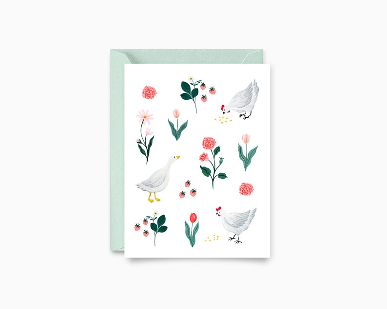 Flowers Chickens and Goose Pattern Greeting Card image 0