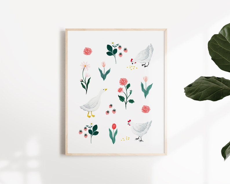 Illustration design of chickens in a flower garden Art Print image 0