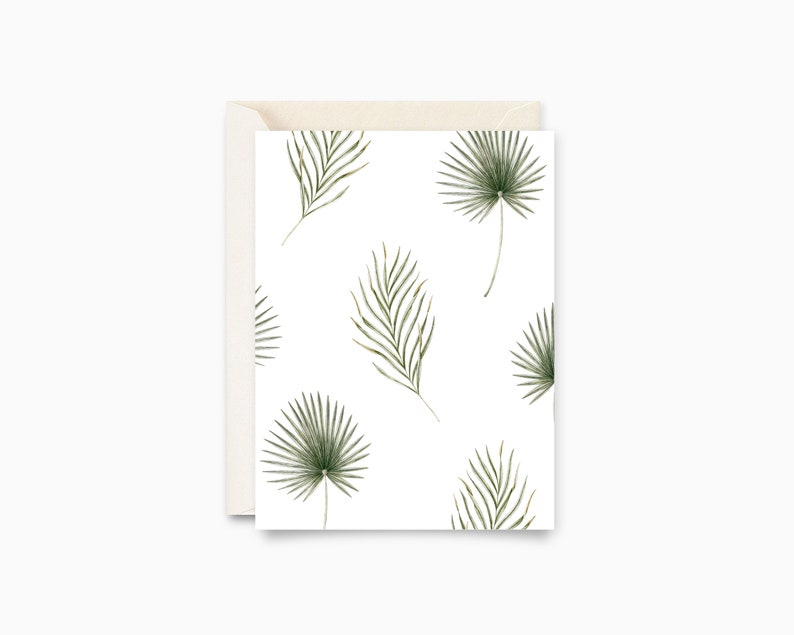 Palm Leaves  Wish Card  Botanical Illustration image 0