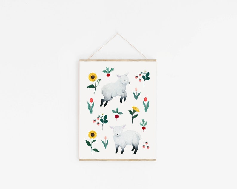 Illustration design of sheep in a garden Art Print image 0