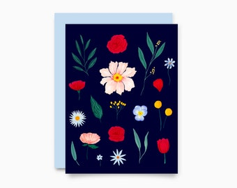 Floral Marine Greeting Card