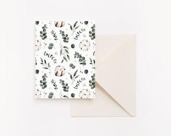 Christmas Card - Eucalyptus botanical motif and cotton flower