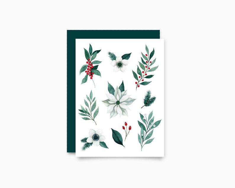 Holiday Greeting Card   Christmas Floral image 0