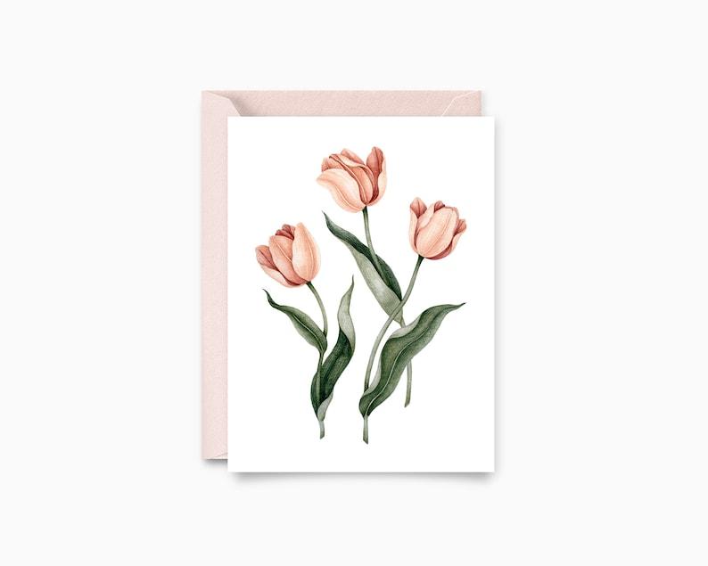 Flowers tulips-greeting card-botanical illustration image 0