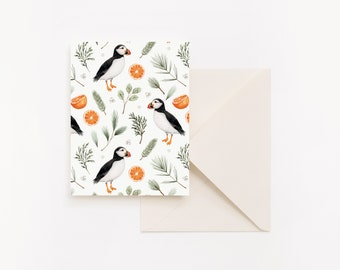 Christmas Card - Puffins