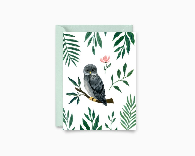 Floral Owl Greeting Card image 0