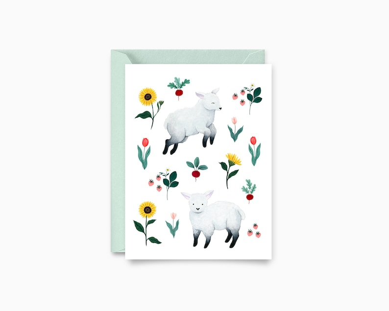 Lambs in the garden Pattern Greeting Card image 0