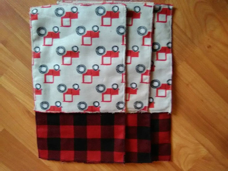 Set of 6 reusable cloth napkins or baby wipes