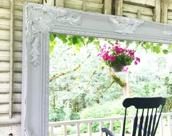 Grey Distressed Shabby Chic Mirror, Farmhouse Bathroom, Vanity Mirror, Ornate Mirror