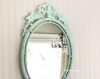 Blue Oval Nursery Mirror, Oval Farmhouse Mirror, Oval Vanity Mirror