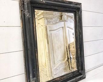 Franais Vintage Salle De Bain Miroir Fleuri Suspendu Shabby Chic Mural Noir Et Or