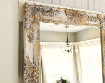 Farmhouse Mirror, White And Gold Distressed Mirror, Shabby Chic Mirror, Bathroom  Mirror, Ornate Mirror