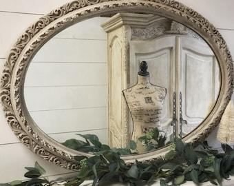 Miroir Ovale De Chic Minable Tenture Murale Ferme Home Decor Shabby Franais Salle Bain Grand En Dtresse