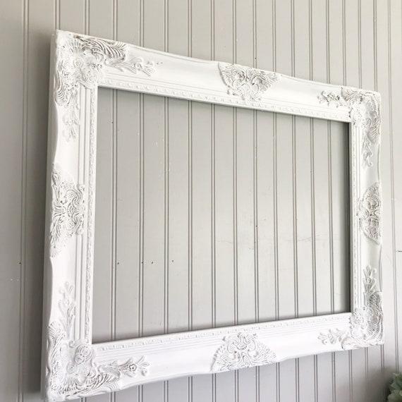 White Distressed Frame White Farmhouse Frame Ornate Frame Etsy