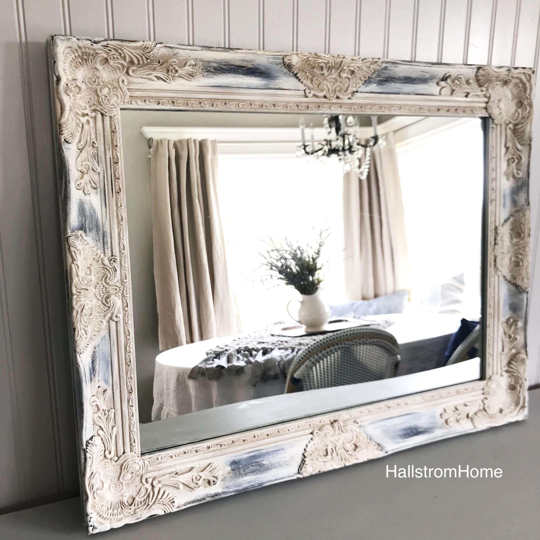 How To Hang Bathroom Mirror: Rustic Bathroom Mirror Wood Framed Wall Hanging Mirror